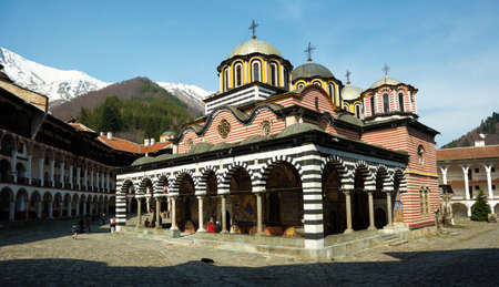 The church in the yard of the Rilski monastery, Bulgaria Stock Photo