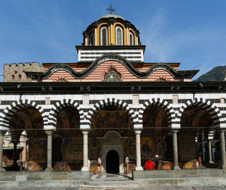 The front side of the church in Rila monastery