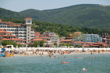 The beach at Sunny Beach, Bulgaria Stock Photo