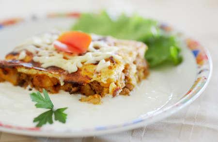 Food, traditional Bulgarian moussaka food in a dish with Bulgarian yogurt