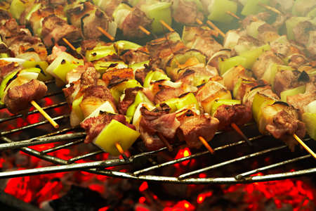 Grilled meat on a barbecue grill