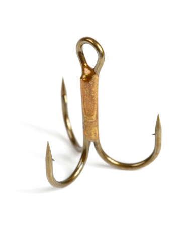 Close-up of a triple fishing hook