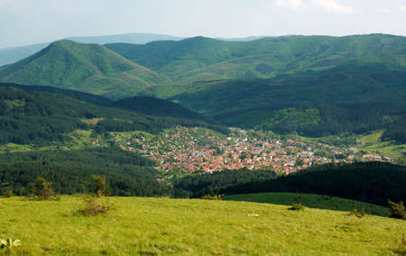 kotel: Kotel town and the slopes of Stara Planina mountains, Vida peak at left