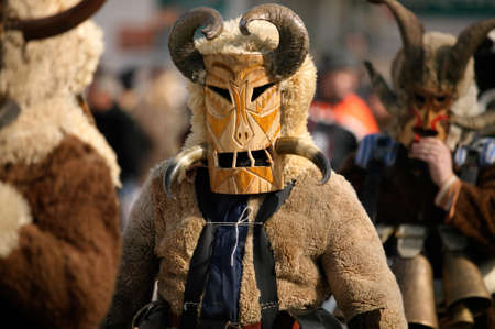 Kukeri traditional mask customs. Unique masquerade tradition from Bulgaria.
