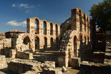 The remains of an old church in Nessebar - Bulgaria Stock Photo