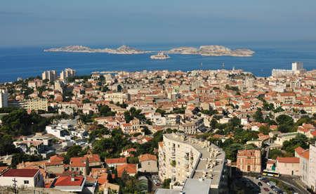 marseille: Marseille met de eilanden en Iv kasteel  Stockfoto