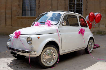 Little wedding car, vintage vehicle for just-married