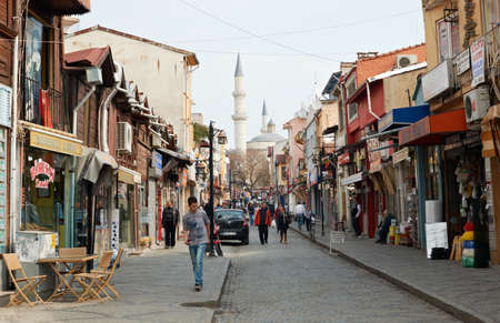Shopping street in Edirne town, Turkey