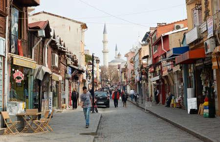 edirne: Shopping street in Edirne town, Turkey