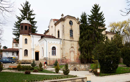 kotel: Exterior of the Orthodox church in Kotel town Bulgaria, Eastern Europe Stock Photo