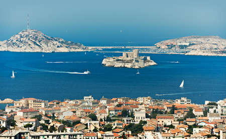castle if: Mediterranean bay of Marseille city with If castle and blue sea water