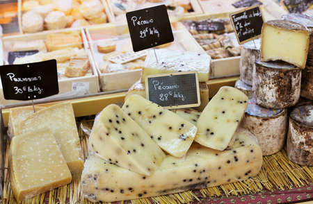 Sale of French cheese at Aix en Provence market Stock Photo