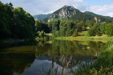 Lake near Smolyan town, Rhodope mountains, Bulgaria in summer season Stock Photo