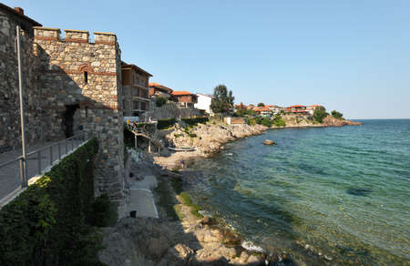 Summer landscape of Sozopol town in Bulgaria, with the fortification walls Stock Photo