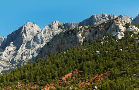Nature scenery with Saint Victoire mountain near Aix en Provence town, South France Stock Photo