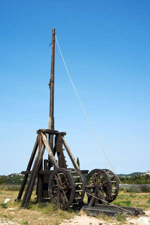 mediaval: Working replica of a mediaval catapult battle machine Stock Photo