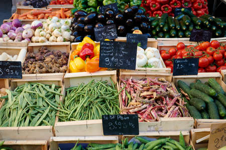 Fresh vegetables for sale on market stall in Aix en Provnece, France