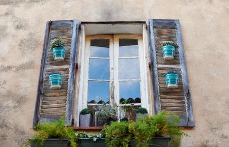 tropez: Typical Saint Tropez window with flowers, Provence, France