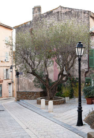 Traditional architecture in the streets of Saint Tropez mediterranean town, Provence, France photo