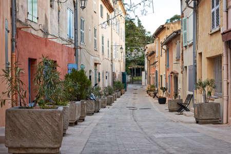 tropez: Typical Saint Tropez street in winter season, Provence, France Stock Photo