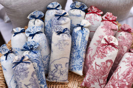 odorous: Bags with dried lavender blossoms on the market in Aix en Provence, South France