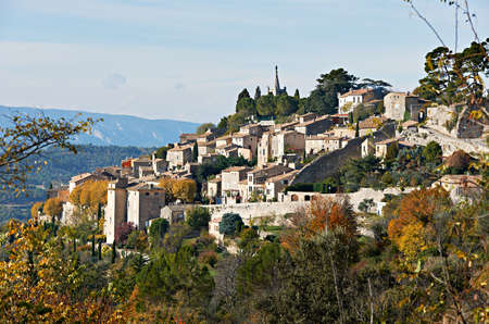 the luberon: Village Bonniex in autumn season, typical Provence rural scene from South France, Luberon region