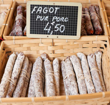 porc: Fagot pure porc saussage on rural Provence market