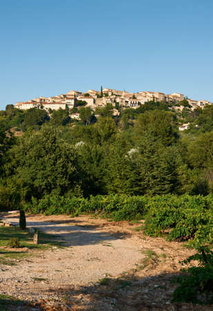 Overview of ancient Grambois village, Provence, France with wineyards in the front