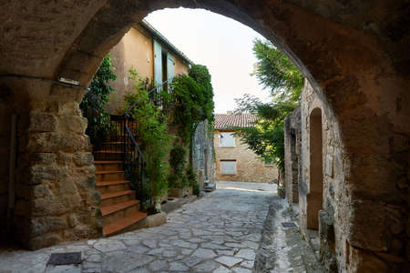 Typical street in ancient village of Grambois, South France, Provence region Stock Photo