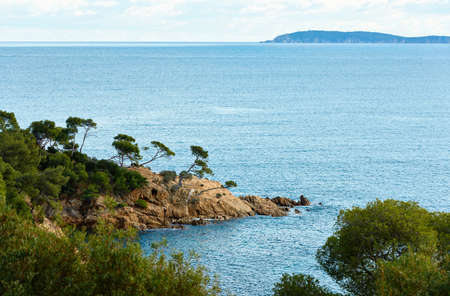 The coast of Mediterranean sea near the famous resort village of Le Lavandou, French Riviera, South France