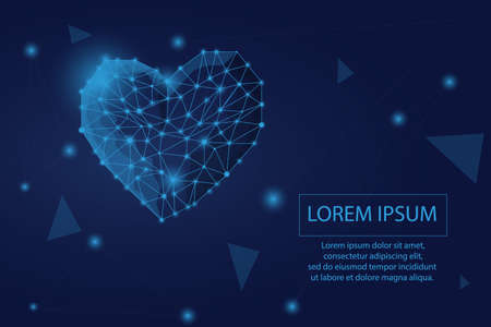 Abstract heart icon. Low poly style design. Abstract geometric background. Wireframe light connection structure. Modern 3d graphic concept. Isolated vector illustration. Çizim