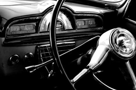 View of the interior of an old vintage car Stock Photo - 773470
