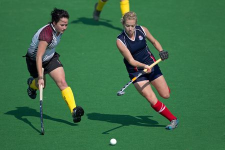 Bloemfontein, South Africa - August 7, 2010 - Action during an annual women's field hockey match between the North West University (NWU) and the University of the Free State (UFS) (NWU won 5-1)