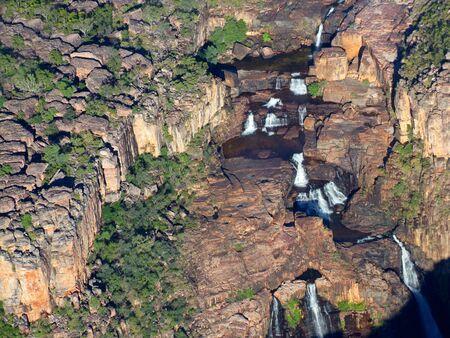 Aerial view of the twin falls, Kakadu National Park, Northern Territory, Australia