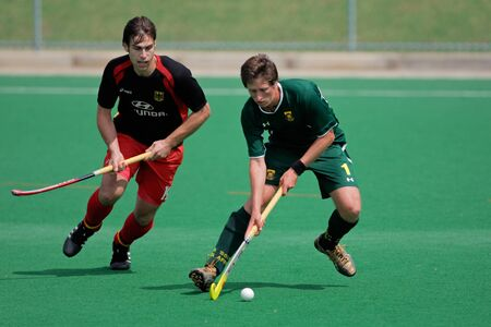 Bloemfontein, South Africa - March 14, 2009 - Action during an international mens field hockey game between Germany and South Africa (Germany won 4-3) Editorial