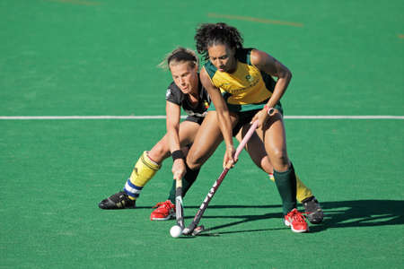 Bloemfontein, South Africa - February 7, 2011 - Marsha Marescia and Gaelle Valcke in action during a women's field hockey match between South Africa and Belgium (South Africa won 4-1) Stock Photo - 9916308