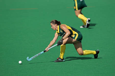Bloemfontein, South Africa - February 7, 2011 - Kim Hubach of SA in action during a womens field hockey match between South Africa and Belgium (South Africa won 4-1)