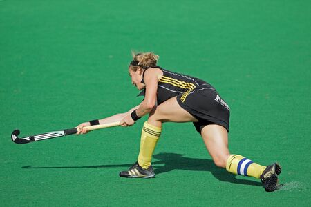 Bloemfontein, South Africa - February 7, 2011 - Gaelle Valcke of Belgium in action during a womens field hockey match between South Africa and Belgium (South Africa won 4-1)