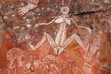ノーランジー、カカドゥ国立公園、ノーザン テリトリー、オーストラリアでアボリジニー アート (Namondjok)