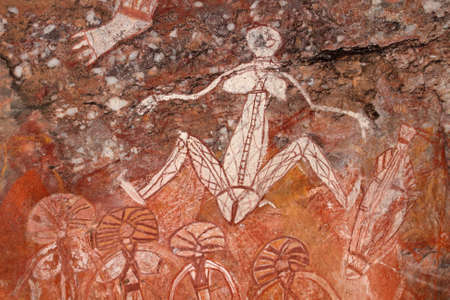 Nourlangie, 카카 두 국립 공원의 노던 테리토리, 호주 원주민 바위 예술 (Namondjok) 스톡 콘텐츠