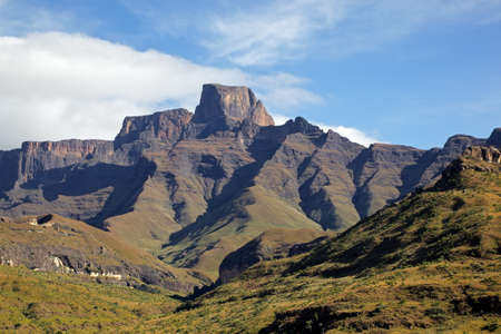 Sentinal peak in the amphiteater of the Drakensberg mountains, Royal Natal National Park, South Africa
