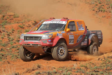 Bloemfontein, South Africa - October 15, 2011 - Riaan Greyling and Louw de Bruin in their Ford Ranger in action during a South African off road championship event