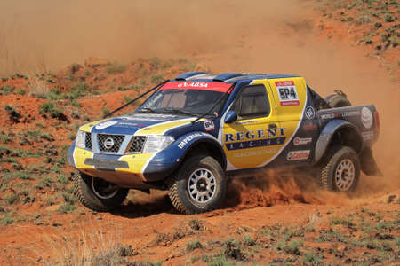 Bloemfontein, South Africa - October 15, 2011 - George Smalberger and Terence March in their Nissan Navara in action during a South African off road championship event