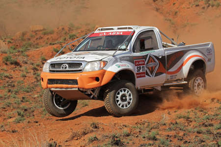 Bloemfontein, South Africa - October 15, 2011 - Jannie Visser and Joks le Roux in their Toyota Hilux in action during a South African off road championship event