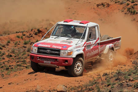 Bloemfontein, South Africa - October 15, 2011 - Johan and Werner Horn in their Toyota Land Cruiser in action during a South African off road championship event
