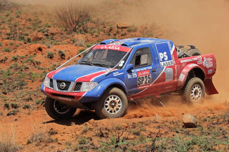 Bloemfontein, South Africa - October 15, 2011 - Alfie Cox and Jurgen Schroeder in their Nissan Navara in action during a South African off road championship event