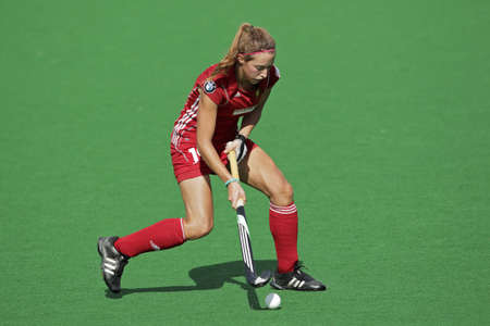 Bloemfontein, South Africa - February 8, 2011 - N Nelen of Belgium in action during a womens field hockey match between South Africa and Belgium (South Africa won 3-2)