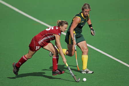 Bloemfontein, South Africa - February 8, 2011 -  Charlotte de Vos and Tarryn Bright in action during a womens field hockey match between South Africa and Belgium (South Africa won 3-2)