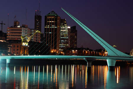 mujer: Bridge of the Woman (Puente De La Mujer) by night, Buenos Aires, Argentina Stock Photo