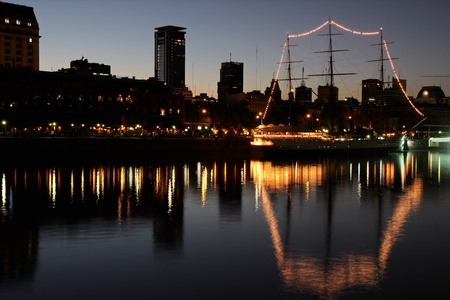 aires: View of the old harbor area  Puerto Madero  by night, Buenos Aires, Argentina